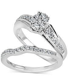 Diamond Cluster Bridal Set (1/2 ct. t.w.) in 14k White Gold