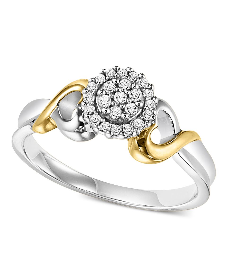 Diamond Engagement Ring, Sterling Silver and 14k Yellow Gold Diamond Heart Ring (1/8 ct. t.w.)   Rings   Jewelry & Watches