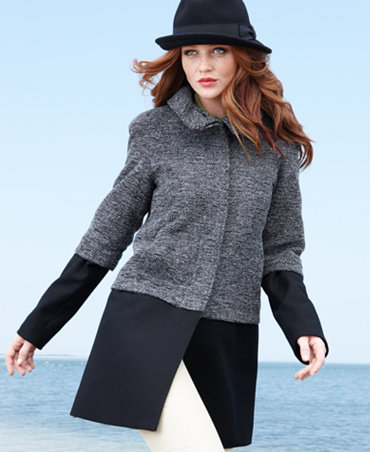 Nine West Coat, Funnel-Neck Wool-Blend Walker :  wool coat colorblock