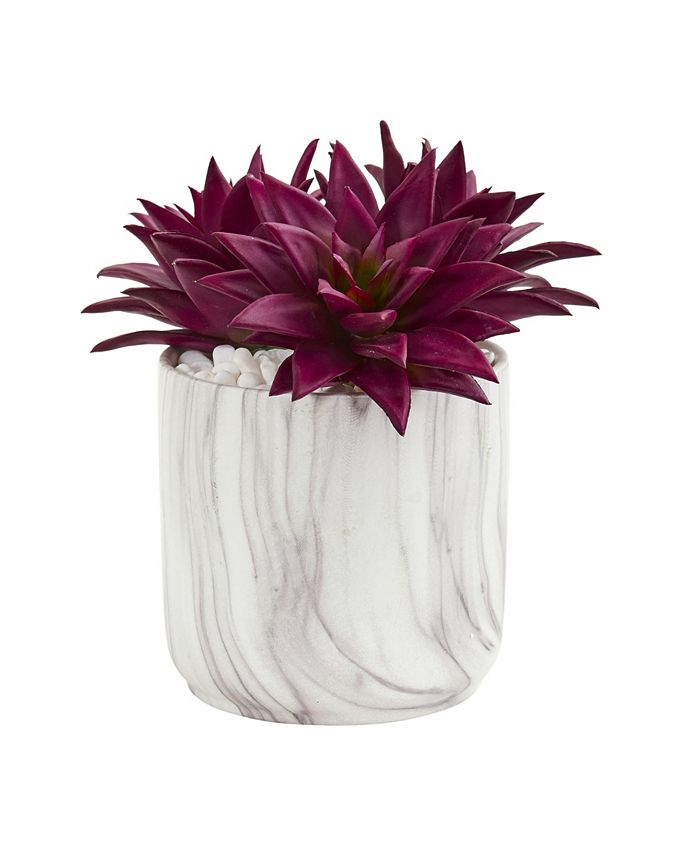 Nearly Natural - Agave Succulent Artificial Plant in Marble Finished Vase