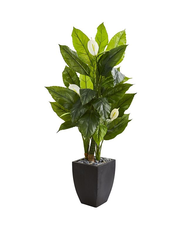 """Nearly Natural 63"""" Spathiphyllum Artificial Plant in Black Planter (Real Touch)"""
