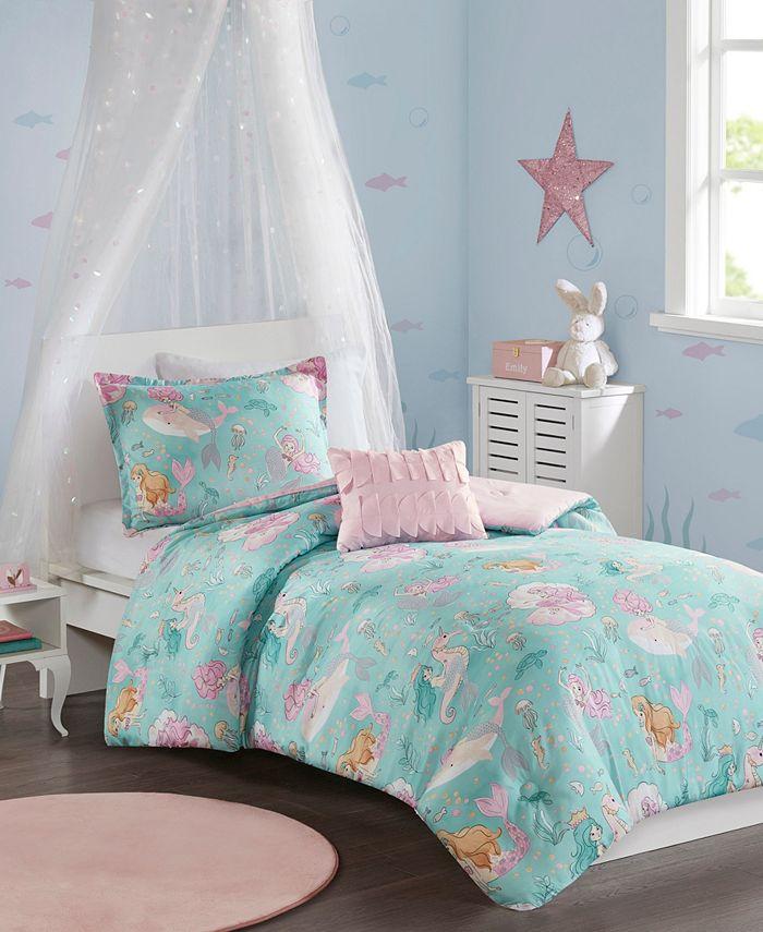 3 Piece Printed Mermaid Comforter Set, Mermaid Bedding Twin