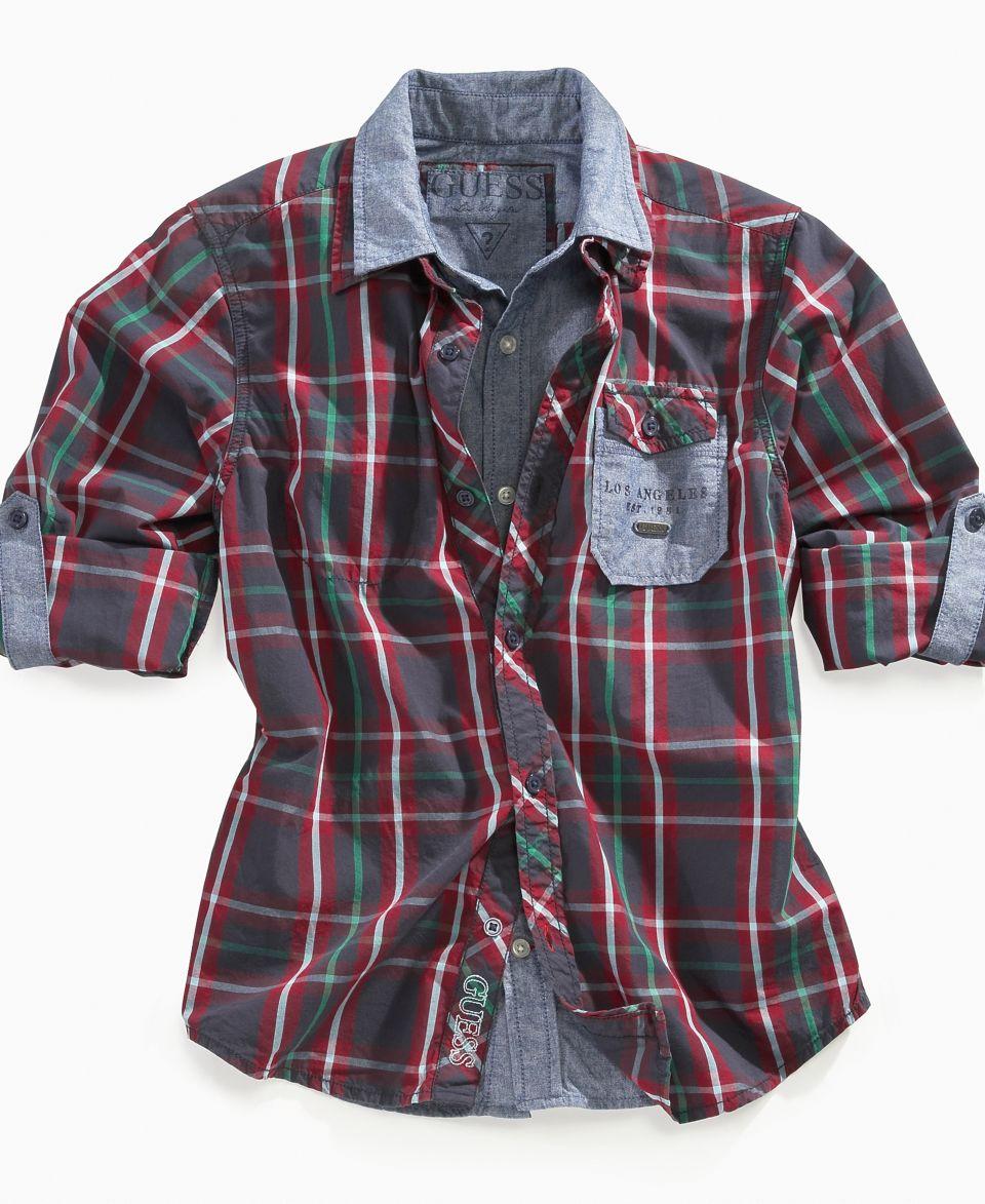 GUESS Kids Shirt, Little Boys Plaid Contrast Shirt   Kids