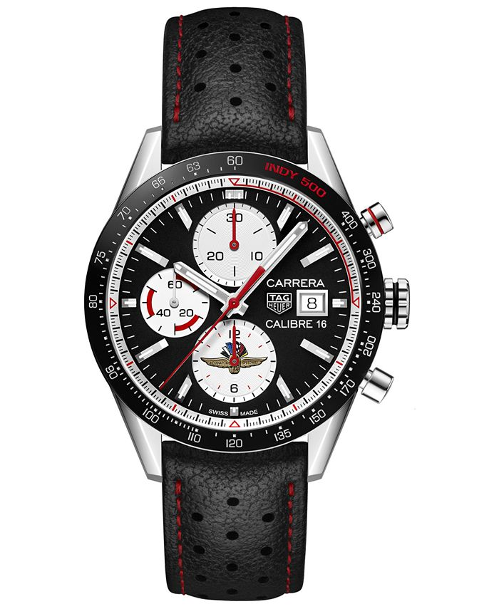 TAG Heuer - Men's Swiss Automatic Chronograph Carrera Black Perforated Leather Strap Watch 41mm - Limited Edition