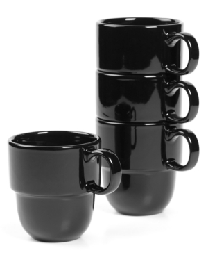 Stax Living Dinnerware, Set of 4 Black Mugs