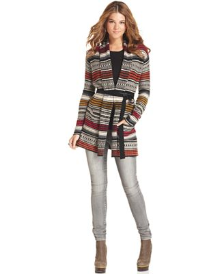 BCBGMAXAZRIA Sweater, Micah Long-Sleeve Belted Tribal Cardigan