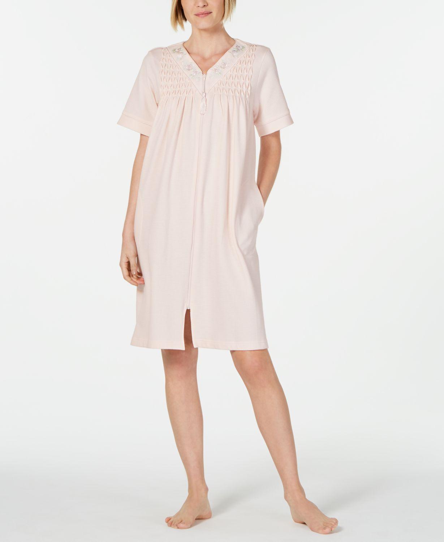 Miss Elaine Smocked Waffle-Knit Zip Robe & Reviews - Bras, Panties & Lingerie - Women - Macy's