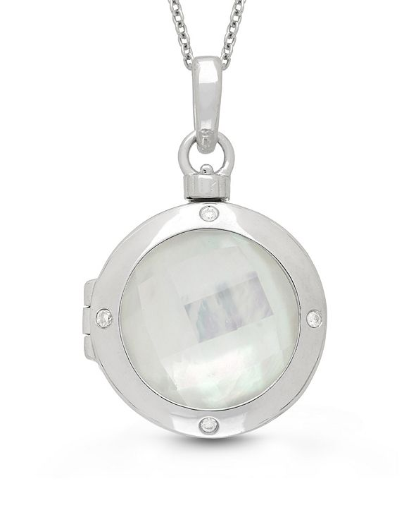 With You Lockets Michelle Mother of Pearl and Quartz Doublet (18mm) with Diamond Accent Photo Locket Necklace in Sterling Silver