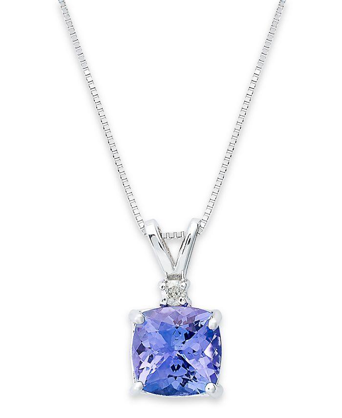 Macy's - 14k White Necklace, Tanzanite (1-5/8 ct. t.w.) and Diamond Accent Cushion Pendant