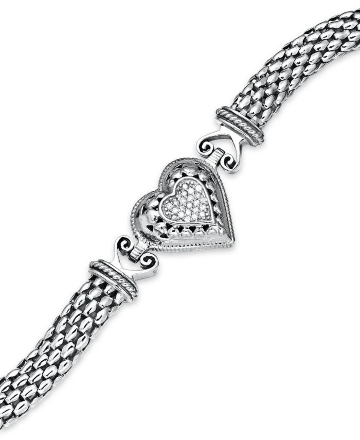 Macy's Diamond Mesh Heart Bracelet in Sterling Silver (1/6 ct. t.w.) & Reviews - Bracelets - Jewelry & Watches - Macy's