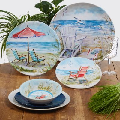 Ocean View Melamine 6-Pc. Dinner Plate Set