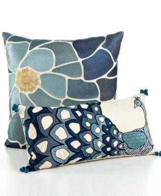 """CLOSEOUT! Bar III Nara Peacock 10"""" x 20"""" Decorative Pillow"""