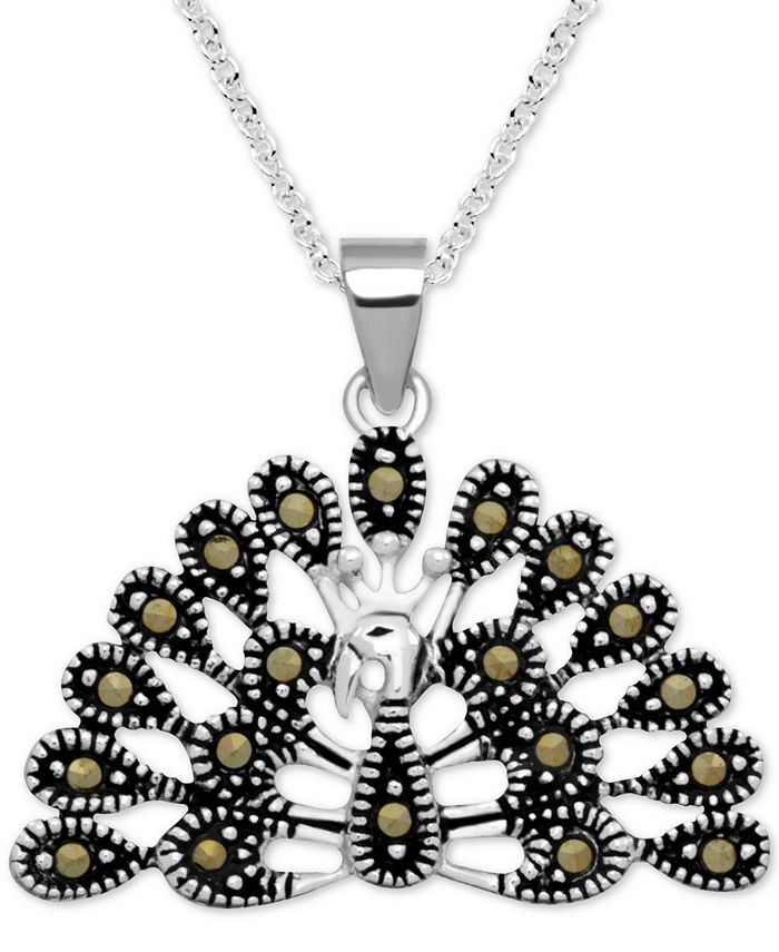 """Macy's - Marcasite Peacock 18"""" Pendant Necklace in Fine Silver-Plate"""