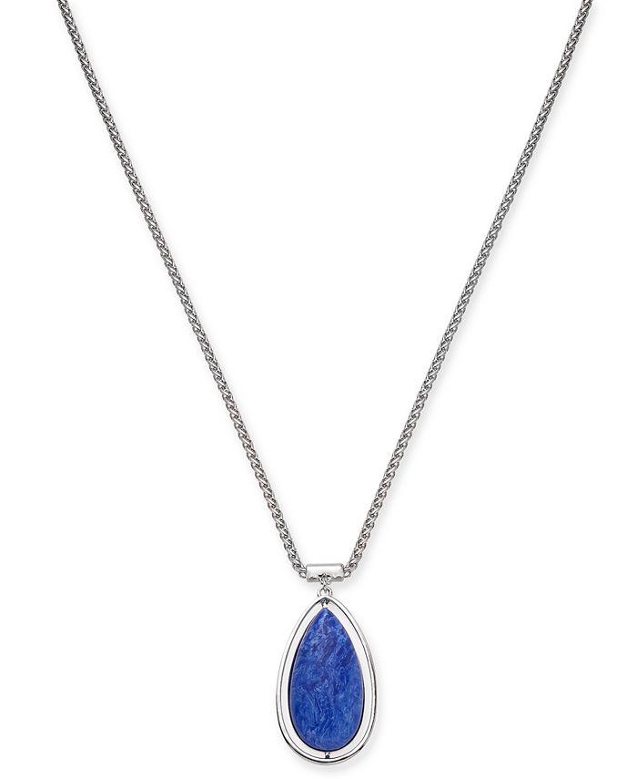 """Alfani - Silver-Tone Blue Teardrop Pendant Necklace, 36"""" + 3"""" extender"""