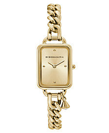 BCBGMAXAZRIA Ladies Rectangle Goldtone Stainless Steel Chain Bracelet with Crystal Charm Watch, 15mm x 21mm