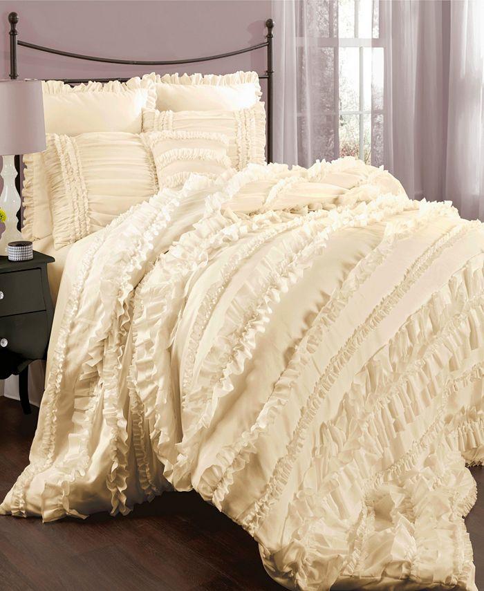 Lush Décor - Belle Comforter White 4Pc Set Queen
