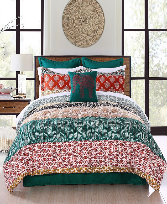 Lush Décor - Bohemian Stripe Comforter Turquoise/Orange 7Pc Set King