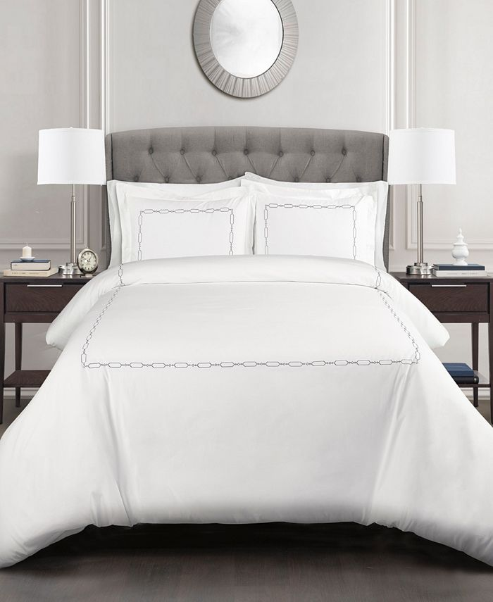 Lush Décor - Hotel Geo Duvet Cover Taupe 3Pc Set King