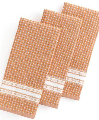 Martha Stewart Collection Kitchen Towels, Set of 3 Waffle Weave Orange