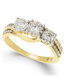 Diamond Three-Stone Ring(1/2 ct. t.w.) in 14K White or Yellow Gold