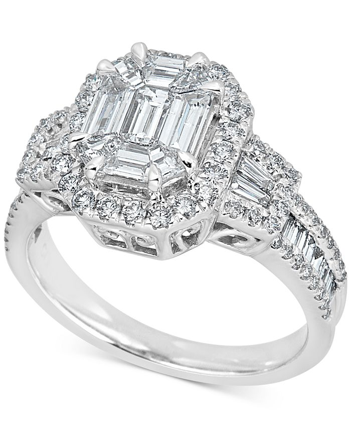 Macy's - Diamond Baguette Cluster Engagement Ring (1-1/2 ct. t.w.) in 14k White Gold