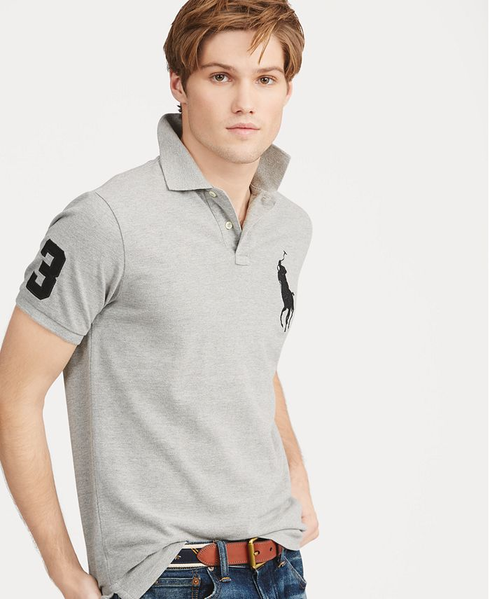 Men's Big Pony Custom Slim Fit Mesh Polo Shirt, Regular and Big & Tall