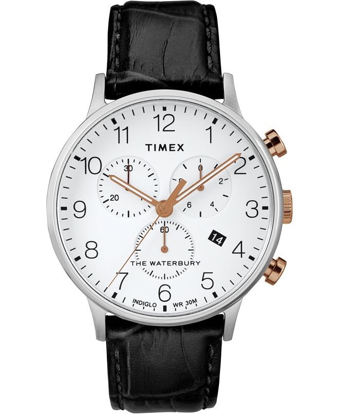 Timex Waterbury Classic Chronograph 40mm Silver Case Black Leather Strap Watch