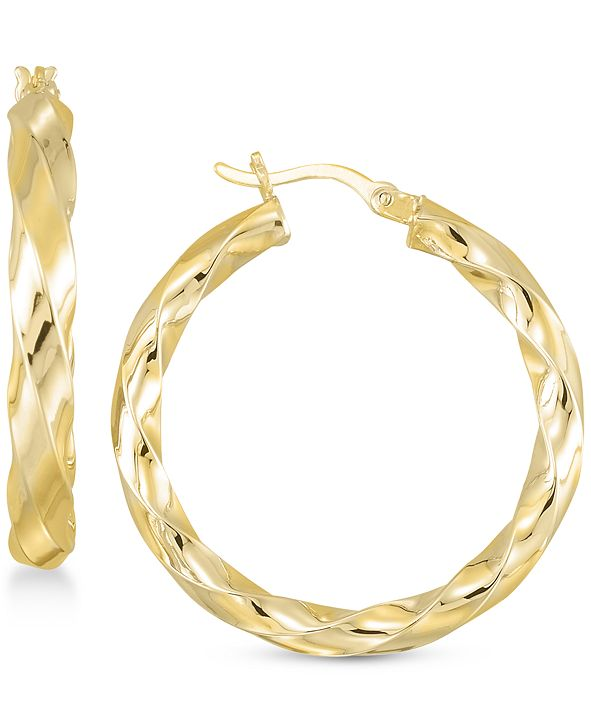 Simone I. Smith Textured Hoop Earrings in 18K Yellow Gold Over Silver or Sterling Silver