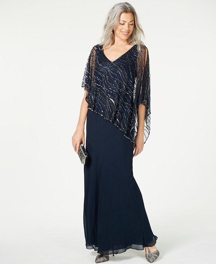 J Kara - Beaded V-Neck Illusion-Overlay Gown