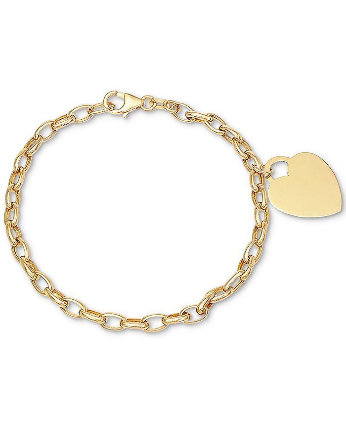 Macy's - Heart Pendant Chain Bracelet in 10k Gold