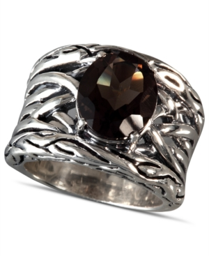 EFFY Collection Sterling Silver Ring, Smokey Quartz (4-1/10 ct. t.w.) Oval Weave Ring