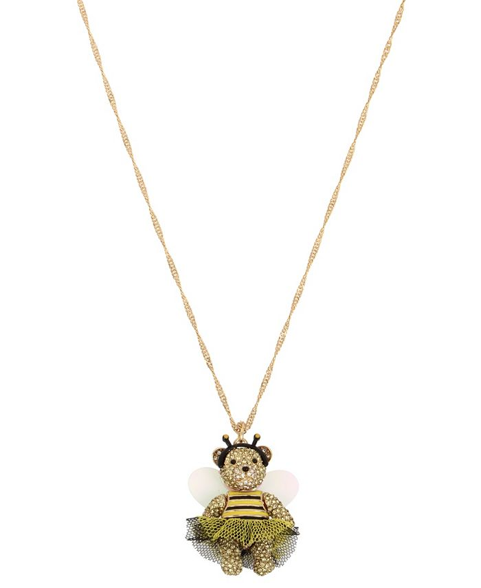 Betsey Johnson - Bumble Bee Pave Bear Pendant Long Necklace