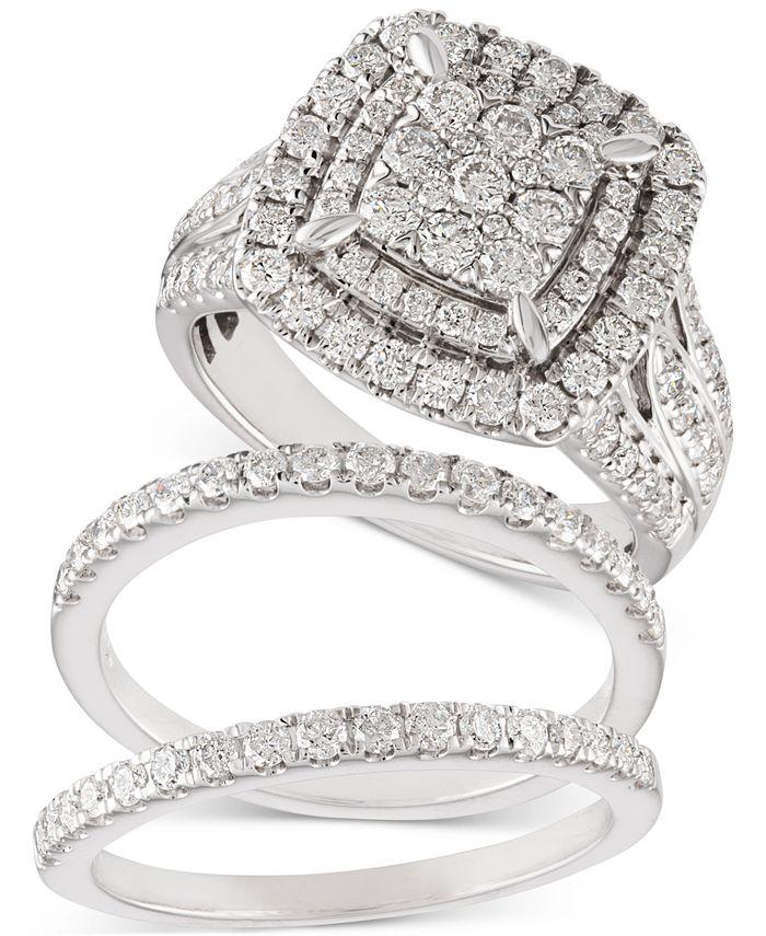 Macy's - Diamond Cluster Bridal Set (2 ct. t.w.) in 14k White Gold