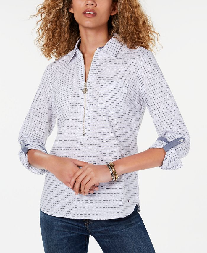 Tommy Hilfiger - Cotton Half-Zip Plaid Popover Top, Created for Macy's