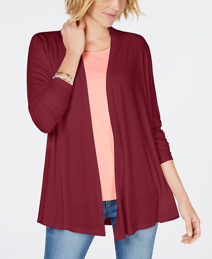 Karen Scott - Draped Open-Front Cardigan