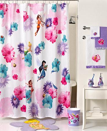 Disney Bath Accessories Fairies Rosey Shower Curtain