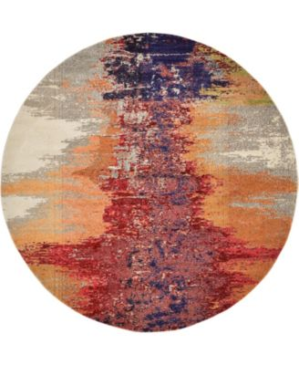 Newwolf New2 Pink 8' x 8' Round Area Rug