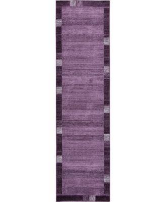 "Lyon Lyo1 Purple 2' 7"" x 10' Runner Area Rug"