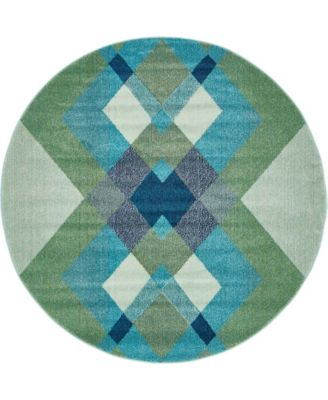 Newwolf New4 Green 8' x 8' Round Area Rug