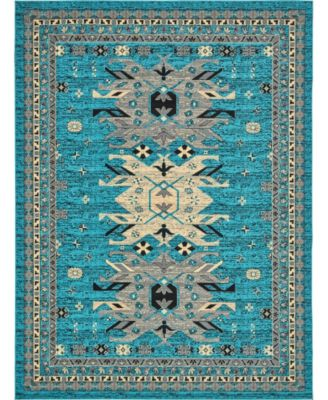 "Charvi Chr1 Turquoise 9' 10"" x 13' Area Rug"