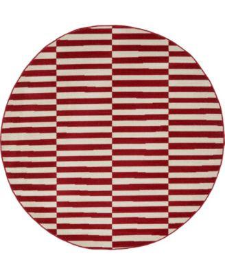 Axbridge Axb2 Red 5' x 5' Round Area Rug