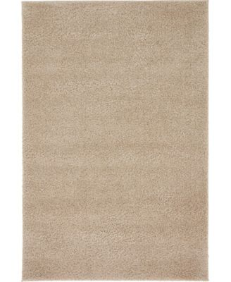 Salon Solid Shag Sss1 Taupe 4' x 6' Area Rug