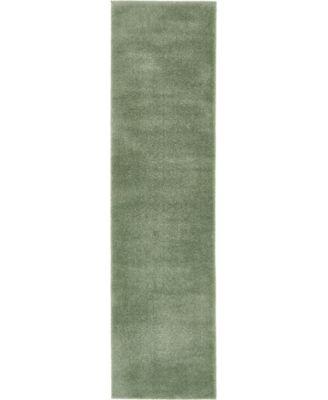 "Salon Solid Shag Sss1 Sage Green 2' 7"" x 10' Runner Area Rug"