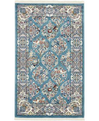 Zara Zar6 Blue 3' x 5' Area Rug