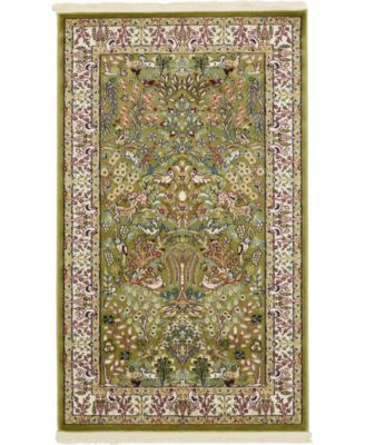 Zara Zar7 Green 3' x 5' Area Rug