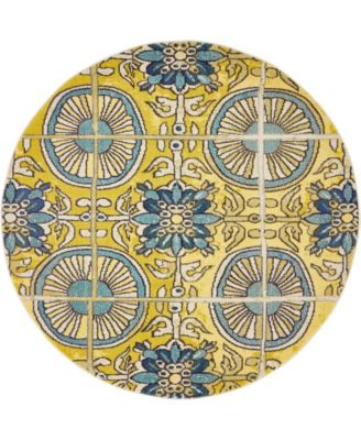 Newwolf New5 Gold 6' x 6' Round Area Rug