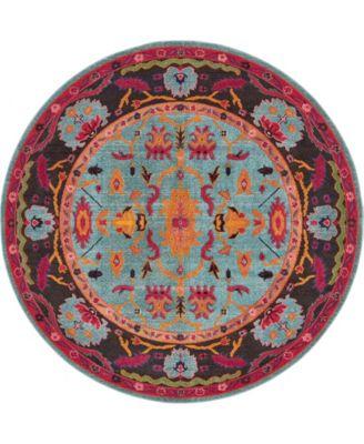Sana San7 Turquoise 8' x 8' Round Area Rug