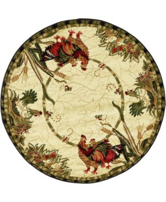 Roost Roo1 Ivory 4' x 4' Round Area Rug