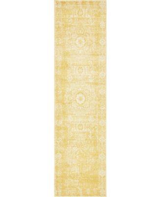 "Wisdom Wis3 Yellow 2' 7"" x 10' Runner Area Rug"