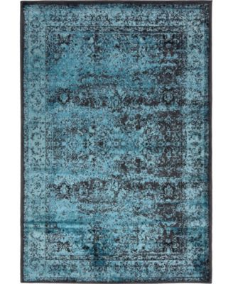 Linport Lin1 Turquoise/Black 4' x 6' Area Rug